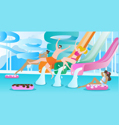 water slide swimming pool vector image