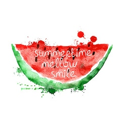 Watercolor with slice of watermelon vector image