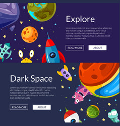 web banners with cartoon space vector image