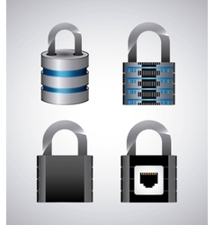 Web hosting and padlock icon Data center design vector