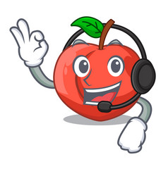 With headphone fruit of nectarine isolated on vector