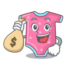 With money bag character baby clothes hanging on vector