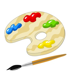 Wooden palette with paints and brush vector