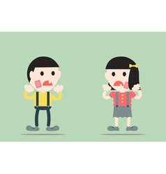 Boy and girl are toothache vector
