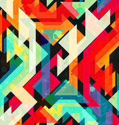 bright geometric seamless pattern with grunge vector image