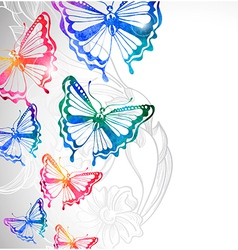 colorful background with watercolor butterflies vector image