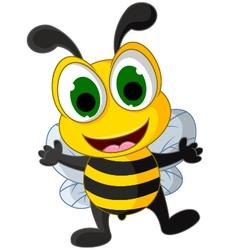 happy little bee cartoon vector image