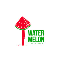 logo template with stylized watermelon piece stuck vector image vector image