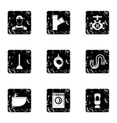 Sanitary appliances icons set grunge style vector