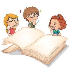 Children and giant book vector image