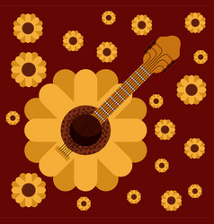 dark red background with guitar in form of vector image vector image