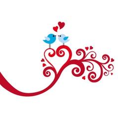 love birds with heart swirl vector image vector image