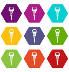 Pneumatic hammer icon set color hexahedron vector