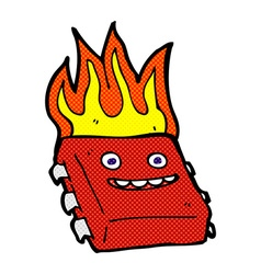 comic cartoon red hot computer chip vector image vector image