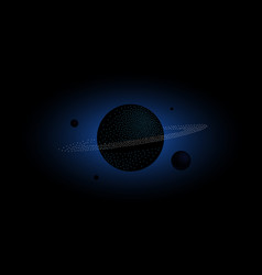 halftone 3d saturn and satellites vector image
