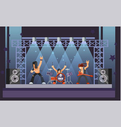rock music or rockers band performing on stage vector image