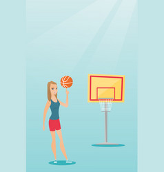 Young caucasian basketball player spinning a ball vector