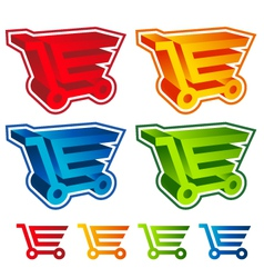 3D Shopping Cart Icons vector image