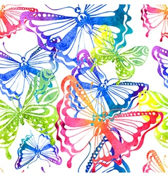 Colorful background with watercolor butterfly vector image vector image