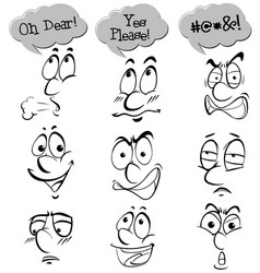 different facial expressions with words vector image vector image