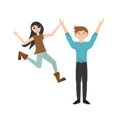 fun couple happy dance vector image vector image