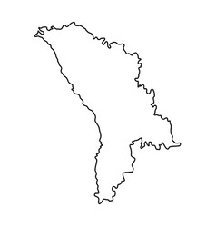 moldova map of black contour curves on white vector image