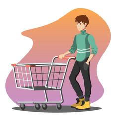 young man pushing a shopping empty cart vector image vector image