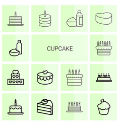 14 cupcake icons vector image