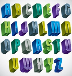 3d colorful letters geometric alphabet vector