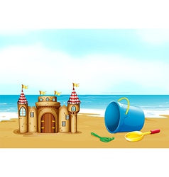 A castle at the beach vector
