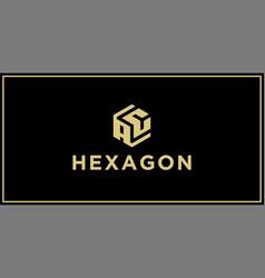 Ac hexagon logo design inspiration vector
