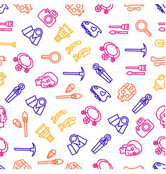 archaeology signs thin line seamless pattern vector image
