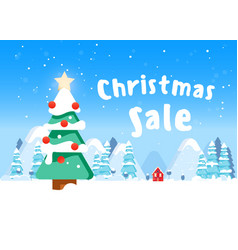 beautiful christmas poster with tree houses and vector image
