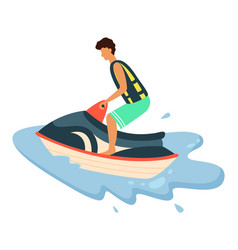 boy in life jacket riding water scooter vector image