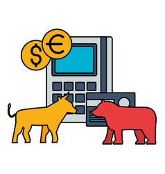 Bull and bear stock market vector