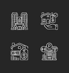 Business property chalk white icons set on black vector