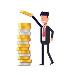 Businessman or manager puts money and coins in a vector