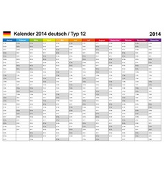 Calendar 2014 German Type 12 vector image