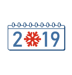 calendar happy new year 2019 number isolated vector image