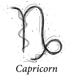 Capricorn astrology sign hand drawn horoscope vector