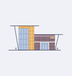 Cartoon city building shopping mall with large vector