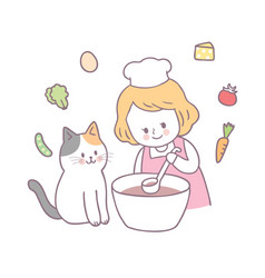 Cartoon cute girl and cat cooking vector
