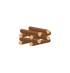 Cartoon firewood stacked in log cabin method to vector
