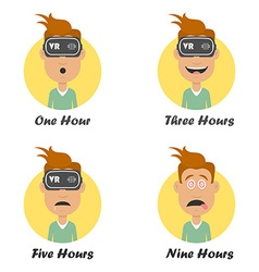 Cartoon man in virtual reality headset gaming vector