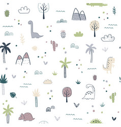 Cartoon seamless pattern with dinosaurs vector
