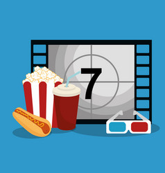 Cinema counter with icons vector
