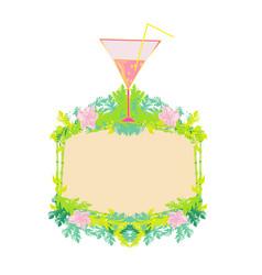 Cocktail party on beach a decorative frame vector