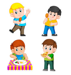 Collection of the boy eating vector