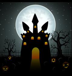 creepy dark castle with pumpkins in graveyard on t vector image