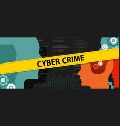cyber crime head source code security vector image